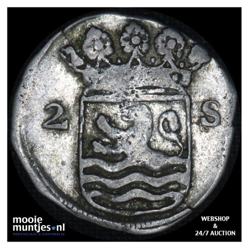 Zeeland - Dubbele wapenstuiver - 1708 (kant B)