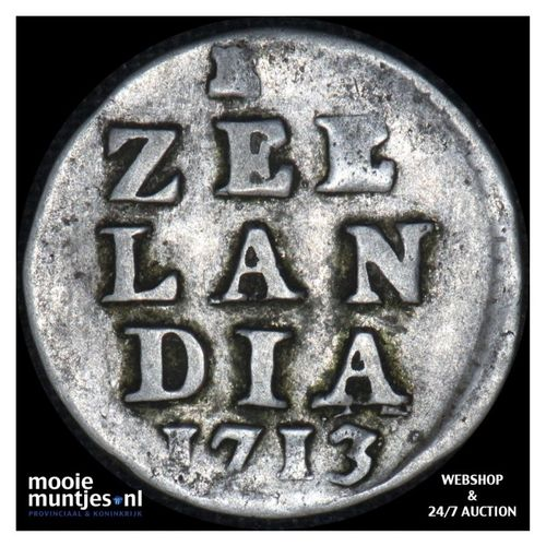 Zeeland - Dubbele wapenstuiver - 1713 (kant A)