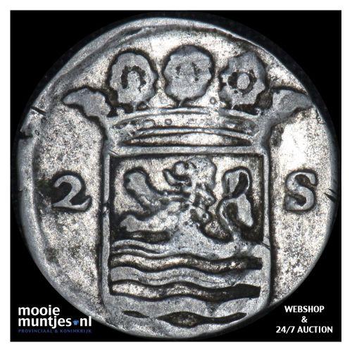 Zeeland - Dubbele wapenstuiver - 1715 (kant B)