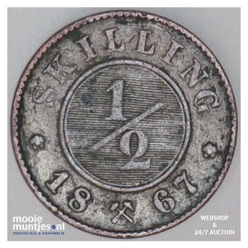 1/2 skilling - Norway 1867 (KM 329) (kant A)
