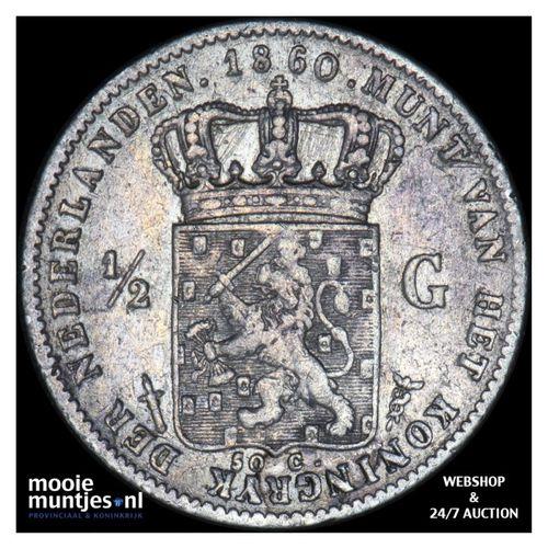 ½ gulden - Willem III - 1860 (kant A)