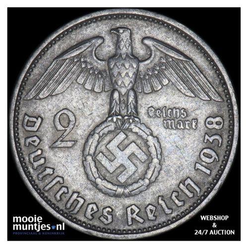 2 reichsmark - Germany-Third Reich 1938 D (KM 93) (kant A)