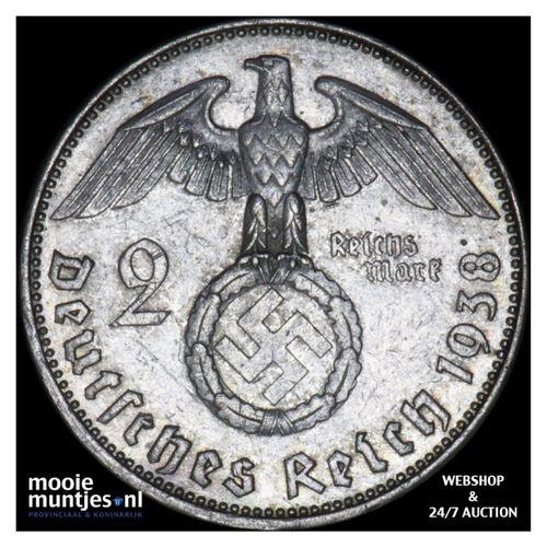 2 reichsmark - Germany-Third Reich 1938 E (KM 93) (kant A)