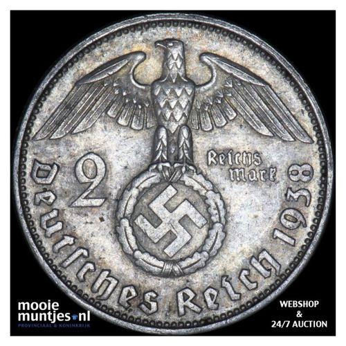 2 reichsmark - Germany-Third Reich 1938 J (KM 93) (kant A)