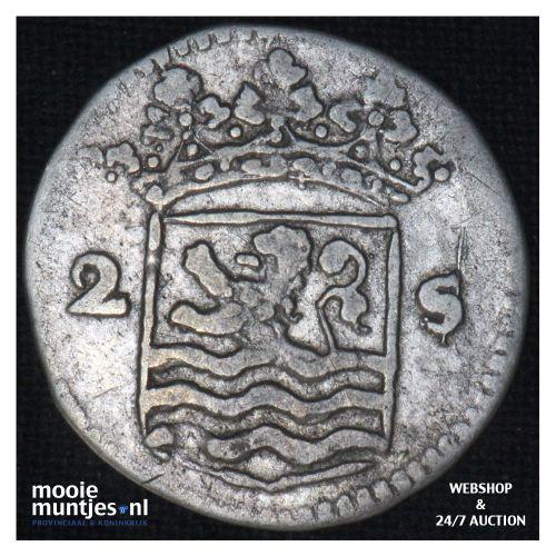 Zeeland - Dubbele wapenstuiver - 1738 (kant B)