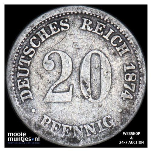 20 pfennig - Germany 1874 D (KM 5) (kant A)