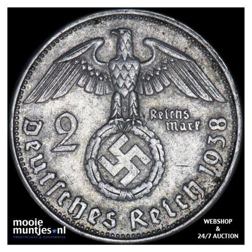 2 reichsmark - Germany-Third Reich 1938 B (KM 93) (kant A)