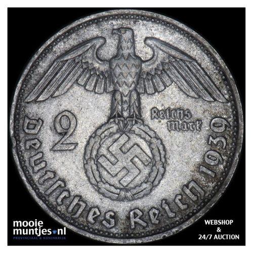 2 reichsmark - Germany-Third Reich 1939 D (KM 93) (kant A)