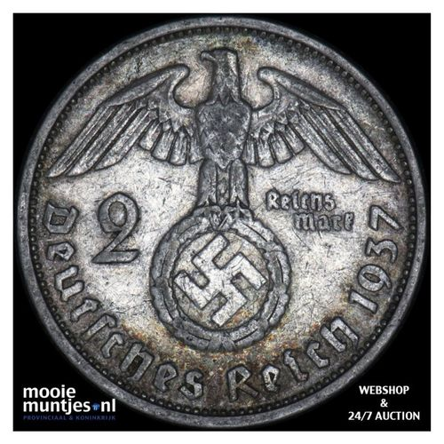 2 reichsmark - Germany-Third Reich 1937 F (KM 93) (kant A)