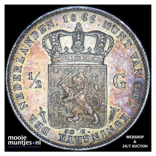 ½ gulden - Willem III - 1866 (kant A)
