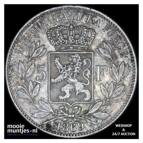 5 francs (5 frank) - Belgium 1869 (KM 24) (kant A)