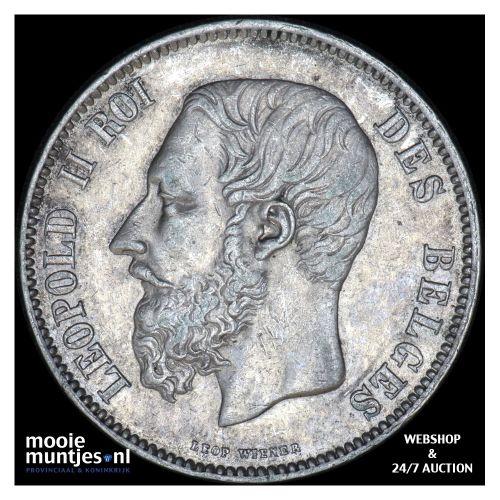 5 francs (5 frank) - Belgium 1869 (KM 24) (kant B)