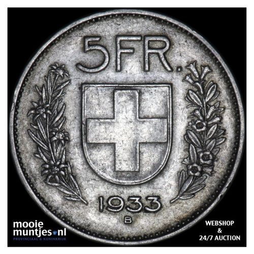 5 francs - Switzerland 1933 (KM 40) (kant A)