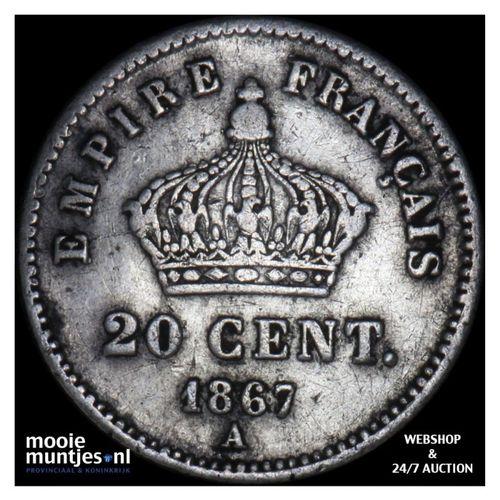20 centimes - France 1867 A (Paris) (KM 808.1) (kant A)