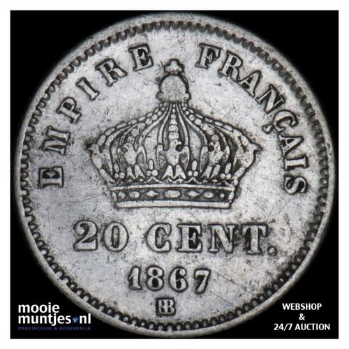 20 centimes - France 1867 BB (Strasbourg) (KM 808.2) (kant A)