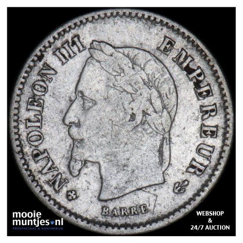 20 centimes - France 1867 BB (Strasbourg) (KM 808.2) (kant B)