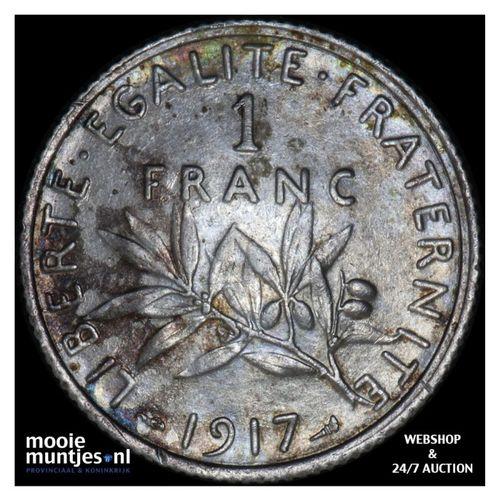 franc - France 1917 (KM 844.1) (kant A)