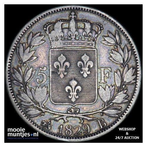 5 francs - France 1829 B (Rouen) (KM 728.2) (kant A)