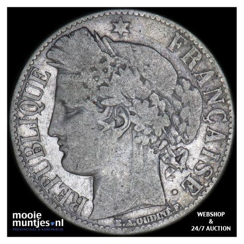 franc - France 1872 A (Paris) (KM 822.1) (kant B)