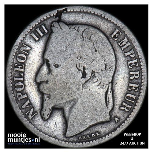 franc - France 1866 A (Paris) (KM 806.1) (kant B)