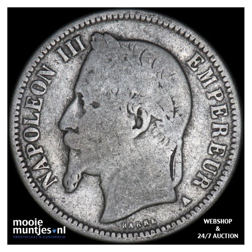 franc - France 1868 A (Paris) (KM 806.1) (kant B)