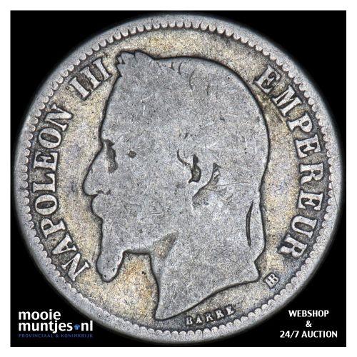 franc - France 1867 BB (Strasbourg) (KM 806.2) (kant B)