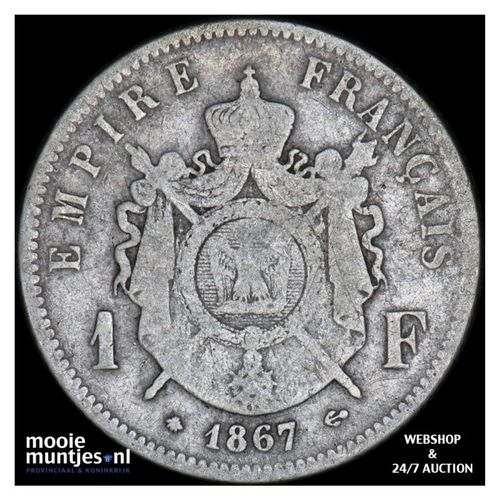 franc - France 1867 A (Paris) (KM 806.1) (kant A)