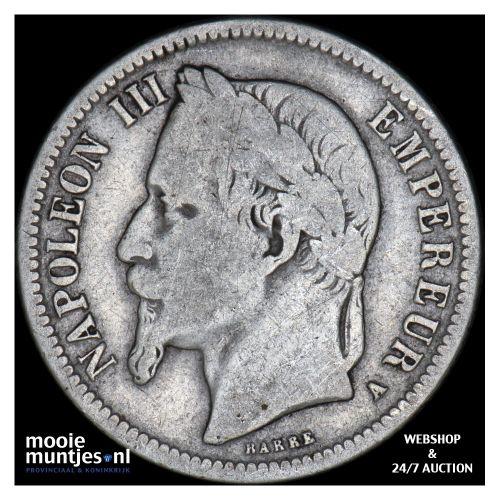 franc - France 1867 A (Paris) (KM 806.1) (kant B)