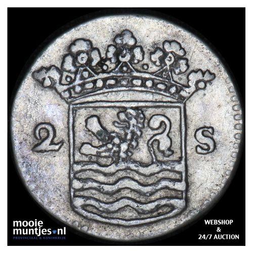 Zeeland - Dubbele wapenstuiver - 1737 (kant B)