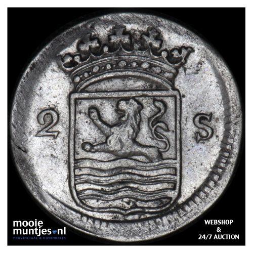 Zeeland - Dubbele wapenstuiver - 1765 (kant B)