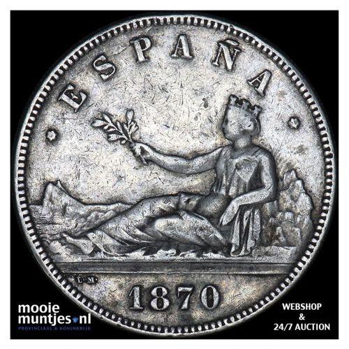5 pesetas - third decimal coinage - Spain 1870 (70) SN-M (KM 655) (kant A)