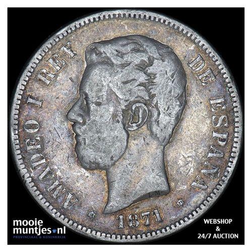 5 pesetas - third decimal coinage - Spain 1871 (71) SD-M (KM 666) (kant A)