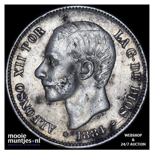 5 pesetas - third decimal coinage - Spain 1884 (84) MS-M (KM 688) (kant A)