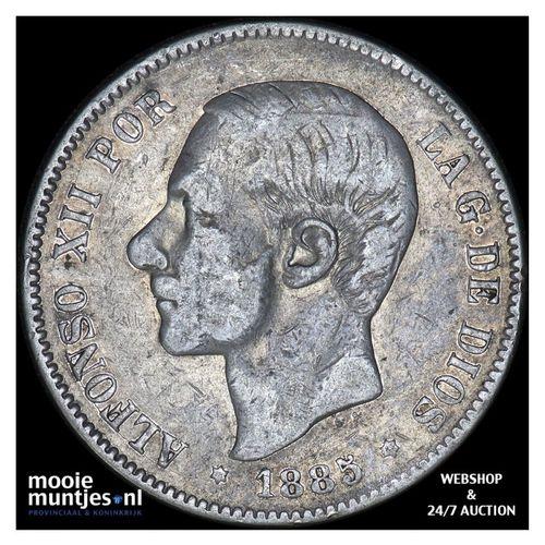5 pesetas - third decimal coinage - Spain 1885 (85) MS-M (KM 688) (kant A)