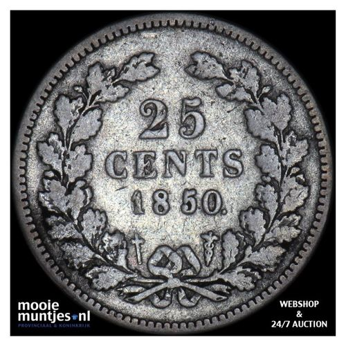 25 cent - Willem III - 1850 (kant A)
