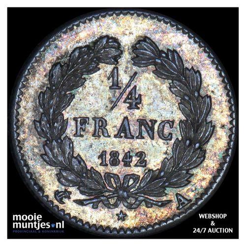 1/4 franc - France 1842 A (Paris) (KM 740.1) (kant A)