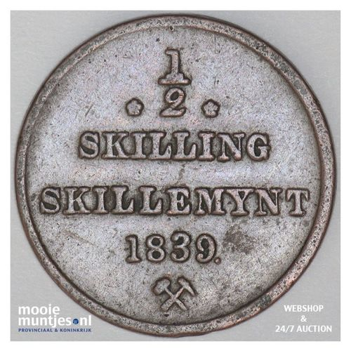 1/2 skilling - Norway 1839 (KM 305.1) (kant A)