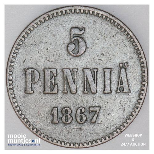 5 pennia - grand duchy - Finland 1867 (KM 4.1) (kant A)