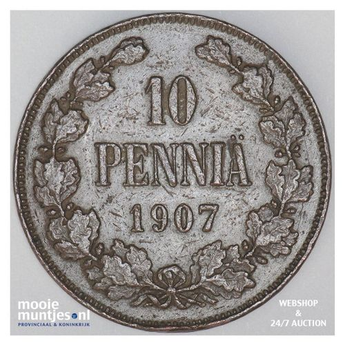 10 pennia - grand duchy - Finland 1907 (KM 14) (kant A)