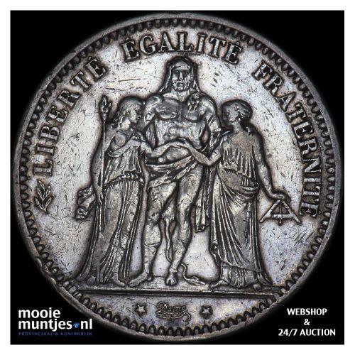 5 francs - France 1875 A (Paris) (KM 820.1) (kant B)