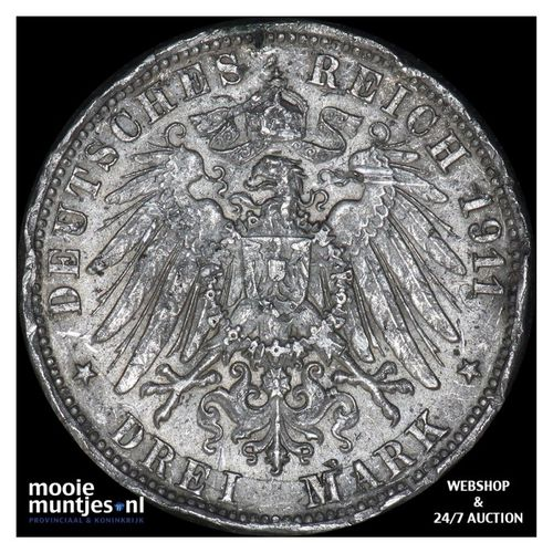 3 mark - German States/Wurttemberg 1911 (KM 636) (kant A)