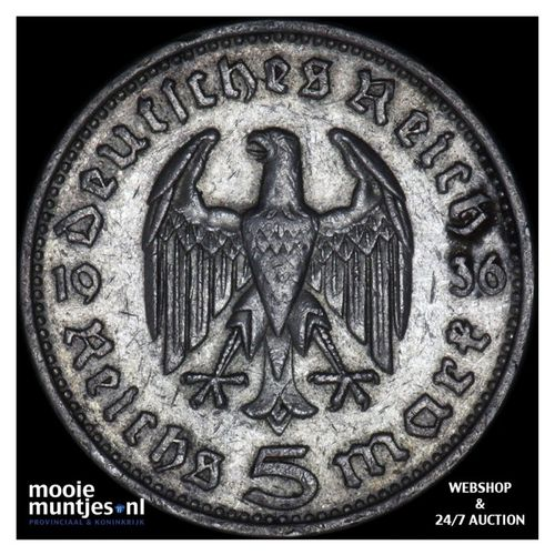 5 reichsmark - Germany-Third Reich 1936 F (KM 86) (kant A)