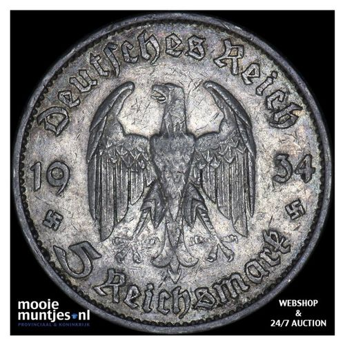 5 reichsmark - Germany-Third Reich 1934 G (KM 83) (kant A)