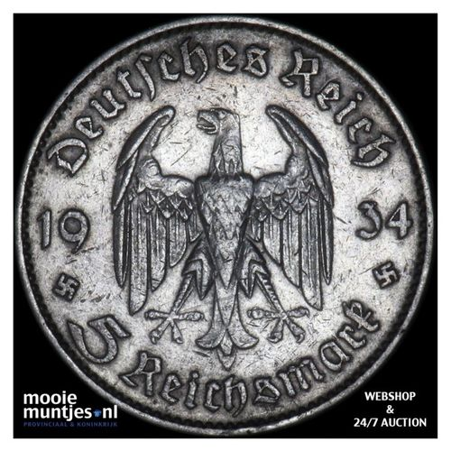 5 reichsmark - Germany-Third Reich 1934 J (KM 83) (kant A)