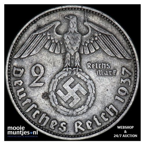 2 reichsmark - Germany-Third Reich 1937 D (KM 93) (kant A)