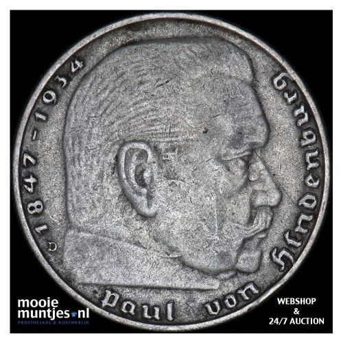 2 reichsmark - Germany-Third Reich 1937 D (KM 93) (kant B)