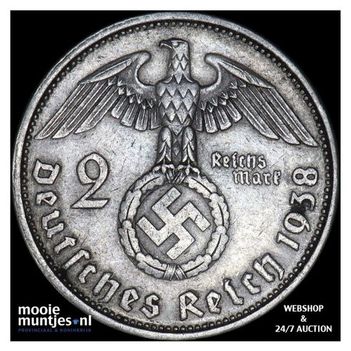 2 reichsmark - Germany-Third Reich 1938 A (KM 93) (kant A)