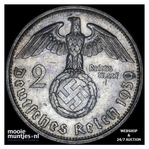 2 reichsmark - Germany-Third Reich 1939 G (KM 93) (kant A)