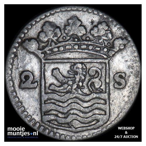 Zeeland - Dubbele wapenstuiver - 1736 over 34 (kant B)