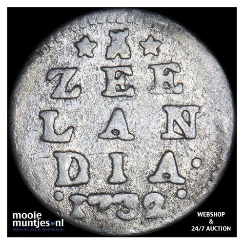 Zeeland - Dubbele wapenstuiver - 1732 (kant A)